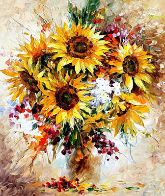 Happy Sunflowers - Palette Knife Oil Painting On Canvas By Leonid Afremov Original by Leonid Afremov