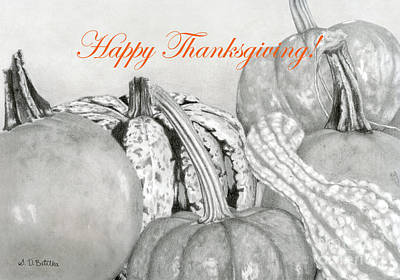Pumpkin Drawing - Autumn Harvest- Happy Thanksgiving Cards by Sarah Batalka