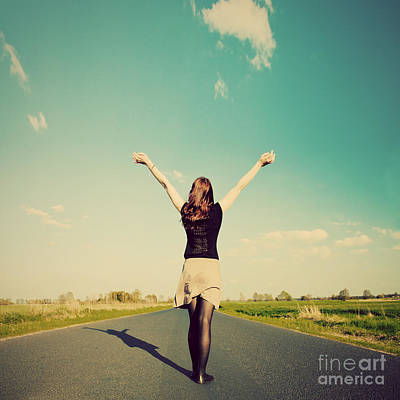 Girl Photograph - Happy Woman Standing On Empty Road Retro Vintage Style by Michal Bednarek