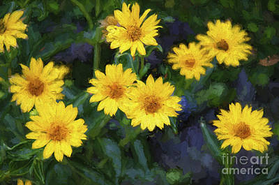 Painterly Photograph - Happy Yellow Flowers Painterly by Andee Design