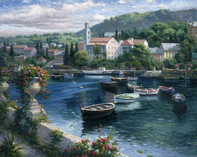 Pallet Knife Painting - Harbor Boats by Ghambaro