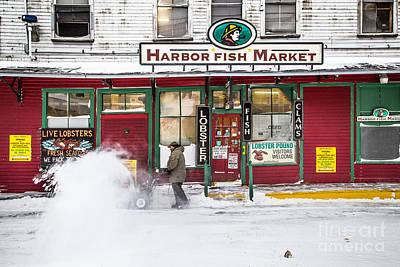 Harbor Fish Market In Winter Print by Benjamin Williamson