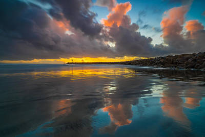 Harbor Jetty Reflections Print by Larry Marshall