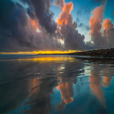 California Ocean Photograph - Harbor Jetty Reflections Square by Larry Marshall