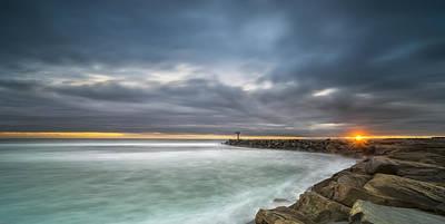 California Ocean Photograph - Harbor Jetty Sunset - Pano by Larry Marshall