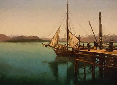 Antiquity Painting - Harbor Of Molde by John K Woodruff