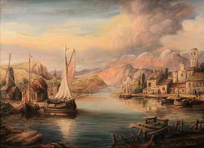Tablou Painting - Harbor Scene  by Dan Scurtu