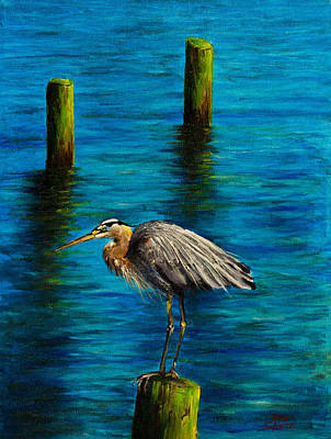 Sawtooth Mountain Art Painting - Harbor Sentry by C Steele