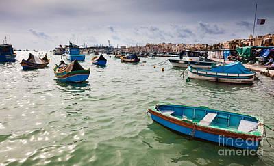 Marsaxlokk Photograph - Harbour Of Marsaxlokk Malta by Frank Bach