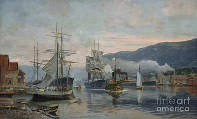 Harbour Subject From A Southern City Print by Nils Hansteen