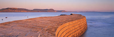 Cobb Photograph - Harbour Wall At Dusk, The Cobb, Lyme by Panoramic Images
