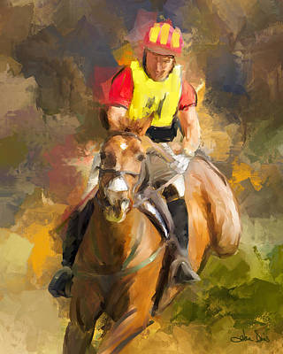 Eventing Painting - Hard Left by Joan Davis