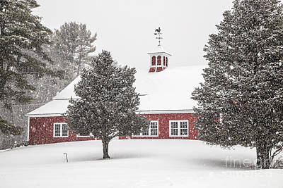 Red Barn In Winter Photograph - Harding Road Red Barn In The Snow by Benjamin Williamson