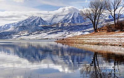 Hardy Fishermen Deer Creek Reservoir And Timpanogos In Winter Print by Gary Whitton
