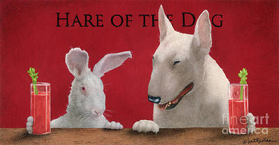 Hare Of The Dog...the Bull Terrier.. Print by Will Bullas
