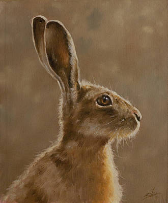 Dry Lake Painting - Hare Portrait I by John Silver