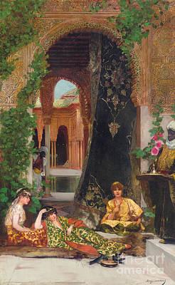 Palace Painting - Harem Women by Jean Joseph Benjamin Constant