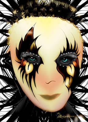 Ericamaxine Digital Art - Harlequin Face Mask by EricaMaxine  Price