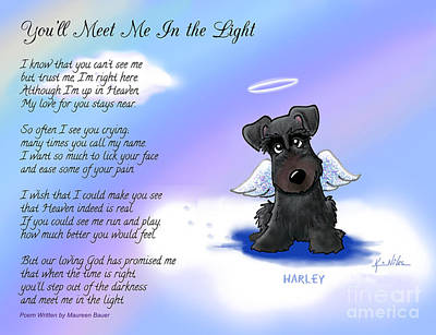 Schnauzer Art Digital Art - Harley Angel With Poem by Kim Niles