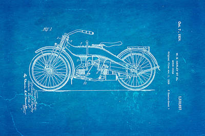 Cylinder Photograph - Harley Davidson 1919 Twin Cylinder Model Patent Art  Blueprint by Ian Monk