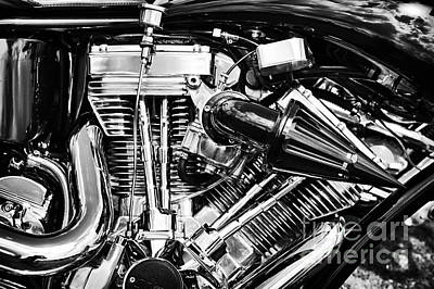 Cylinder Photograph - Harley Davidson Chrome Engine by Tim Gainey