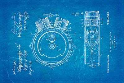 Harley Davidson Photograph - Harley Davidson Engine Patent Art 1914 Blueprint by Ian Monk