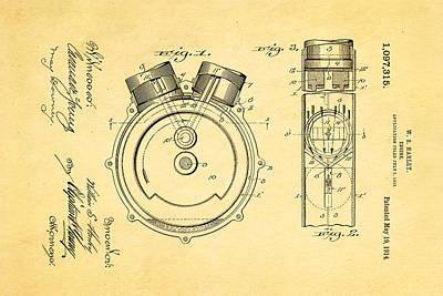 Harley Davidson Photograph - Harley Davidson Engine Patent Art 1914 by Ian Monk