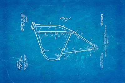 Harley Davidson Photograph - Harley Davidson Frame For V Type Motors Patent Art 1919 Blueprint by Ian Monk