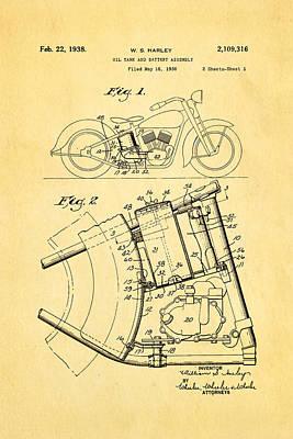 Oil Portrait Photograph - Harley Davidson Horseshoe Oil Tank Patent Art 1938 by Ian Monk