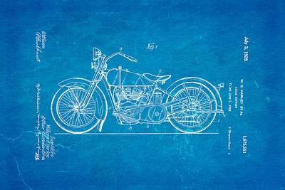 Harley Davidson Photograph - Harley Davidson Motor Cycle Support Patent Art 1928 Blueprint by Ian Monk
