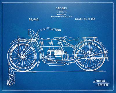Harley-davidson Motorcycle 1919 Patent Artwork Print by Nikki Marie Smith