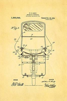 Harley Davidson Photograph - Harley Davidson Motorcycle Windshield Patent Art 1920 by Ian Monk
