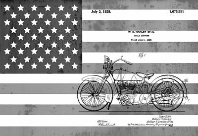 Motorcycle Mixed Media - Harley Davidson Patent On Flag by Dan Sproul