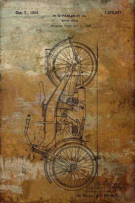 Motorcycle Mixed Media - Harley Davidson Patent Rusted by Dan Sproul