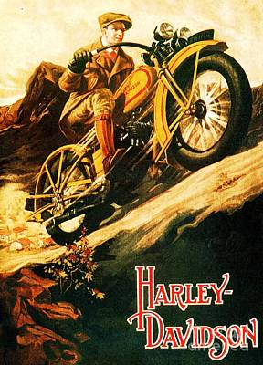 Advertisment Painting - Harley Davidson by Pg Reproductions