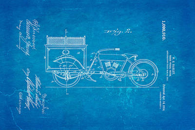 Harley Davidson Three Wheel Truck 2 Patent Art 1914 Blueprint Print by Ian Monk