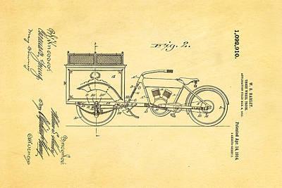 Harley Davidson Three Wheel Truck 2 Patent Art 1914 Print by Ian Monk