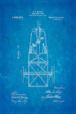 Harley Davidson Three Wheel Truck Patent Art 1914 Blueprint Print by Ian Monk
