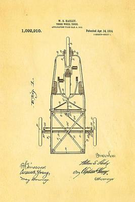 Harley Davidson Three Wheel Truck Patent Art 1914 Print by Ian Monk