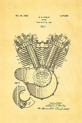 Harley Davidson V Twin Engine Patent Art 1923 Print by Ian Monk
