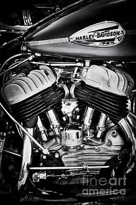 Harley Davidson Wla Monochrome Print by Tim Gainey
