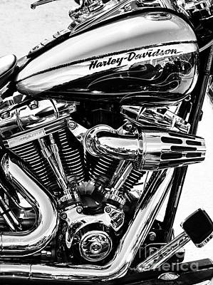Cylinder Photograph - Harley Monochrome by Tim Gainey