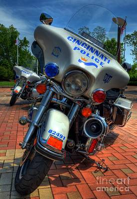 Police Officer Photograph - Harleys In Cincinnati 1 by Mel Steinhauer