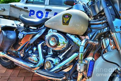 Police Officer Photograph - Harleys In Cincinnati 2 by Mel Steinhauer