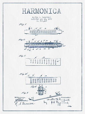 Harmonica Drawing - Harmonica Patent Drawing From 1897  - Blue Ink by Aged Pixel