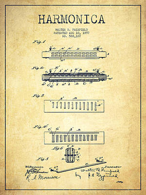 Harmonica Drawing - Harmonica Patent Drawing From 1897 - Vintage by Aged Pixel