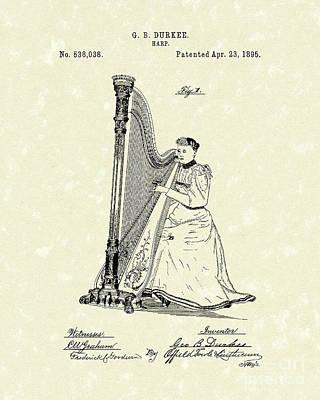 Harp 1895 Patent Art Print by Prior Art Design