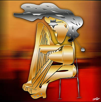 Musician Digital Art - Harp Player by Marvin Blaine