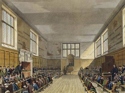 Harrow School Room From History Print by Augustus Charles Pugin