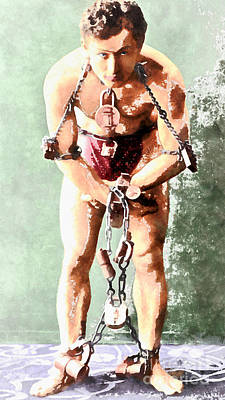Harry Houdini 20140222wc Print by Wingsdomain Art and Photography